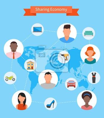 Dzielenie się gospodarka i koncepcja zużycie inteligentne. Wektorowych w stylu płaskiej. Ludzie zaoszczędzić pieniądze, współdzielić zasoby.