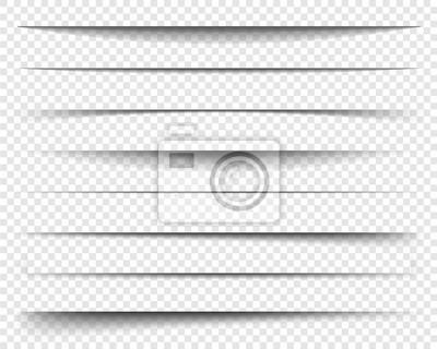 Obraz Dzielniki strony z przezroczystymi cieniami, izolowane. Zestaw wektora separacji stron. Przezroczyste realistyczne efekty cienia papieru. Baner internetowy. Element do cieniowania ramki. Wektor wzór n