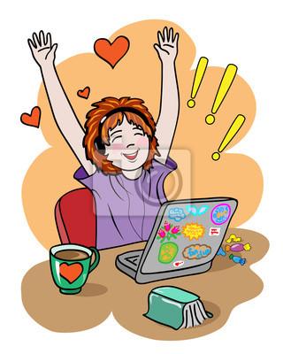 dziewczyna fan wyraża uczucia radości