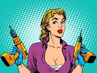 Obraz Dziewczyna naprawy wiertarka pracownika