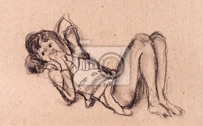 Obraz Dziewczyna r. na podłodze