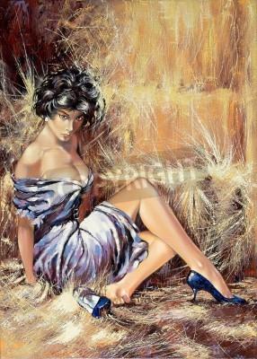 Obraz Dziewczyna siedzi na podłodze