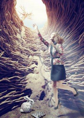 Obraz dziewczyna w głębokiej dziurze