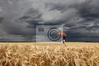 Dziewczyna z parasol na polu pszenicy w deszczowe dni