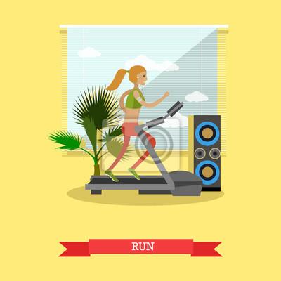 Dziewczynka bawi się na bieżni w centrum fitness. Siłownia i zdrowego stylu życia koncepcji plakat wektora w stylu płaskim