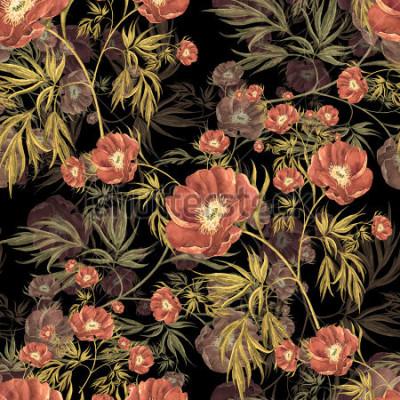 Obraz Dziki piwonia akwarela bezszwowe wzór
