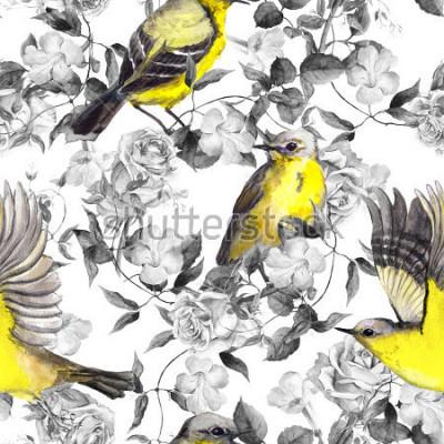 Obraz Dzikie kwiaty łąkowe i ptaki. Akwarela. Neutralny wzór w monochromatycznych czarno-białych kolorach z jasnymi ptakami