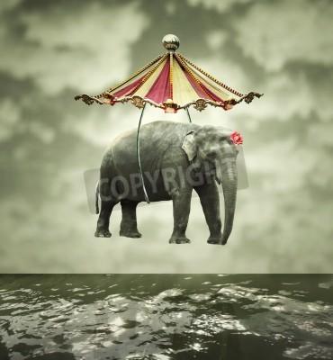 Obraz Dziwaczny i artystycznym obrazu nie stanowią Słoń cyrkowy namiot nad wodą