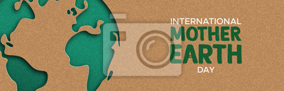 Obraz Earth Day web banner of paper cut world map