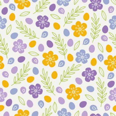 Easter seamless pattern with colorful eggs, flowers, leaves, branches, petals