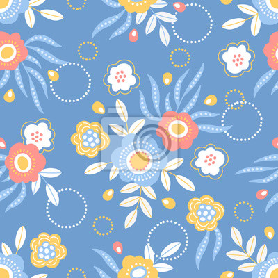 Easter seamless pattern with floral bouquets on blue background