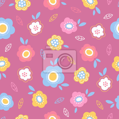 Easter seamless pattern with flowers and leaves on pink background