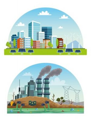 Obraz ecology city and industry pollution scenes vector illustration design