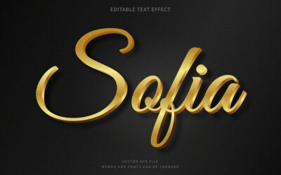 Obraz Editable 3d gold text effect. Fancy font style perfect for logotype, title or heading text.