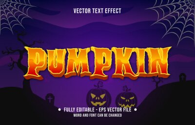 Obraz Editable text effect scary halloween event theme style for digital and print media template