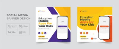 Obraz Education Mobile apps promotion social media post and web banner template, Corporate Business kid School advertisement cover banner design layout