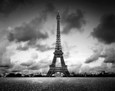 Effel Tower, Paryż, Francja. Czarno-biały, vintage