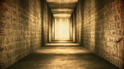 Obraz Egipski tunel Hieroglifów Corridor Vintage