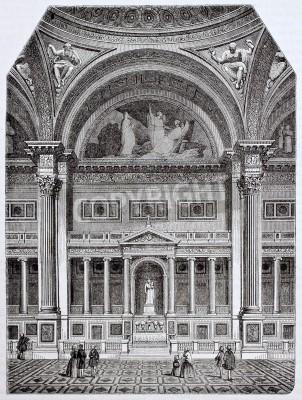 Obraz Eglise de la Madeleine wnętrze, stara ilustracja, Paryż. Stworzony przez Delasert, opublikowanym Magasin Pittoresque, Paryż, 1844