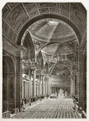 Obraz Eglise de la Madeleine, wnętrze, stary ilustracji, Paryż. Stworzony przez Desmarest i Pisan, opublikowanym Magasin Pittoresque, Paryż, 1843
