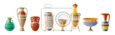 Obraz Egyptian crockery icon set. Vase, pot, amphora, jug. Old geometric floral ornament decoration from ancient Egypt clay art craft. Cartoon 3d realistic, vector illustration isolated on white background