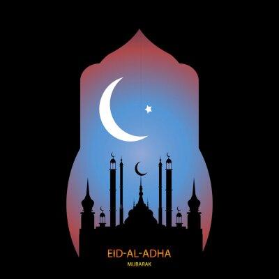 Eid al-Adha Mubarak translated into English as Feast of the Sacrifice. Drawn mosque night view from arch. Arabic design background.  Greeting card, invitation etc.
