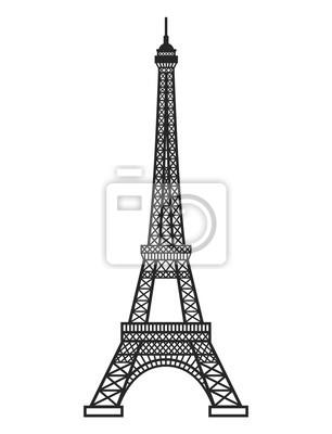 Obraz Eifel tower silhouette. Vector illustration