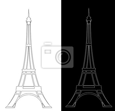 Obraz eiffel tower elegant contour drawing outline - black and white vector landmark design set