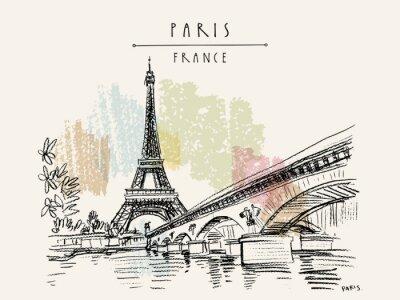 Obraz Eiffel Tower in Paris, France. Vintage hand drawn touristic postcard