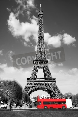 Obraz Eiffel Tower with red bus in Paris, France