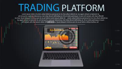 Ekrany laptopa z wykresów finansowych i wykresy. Infografiki. Eps10