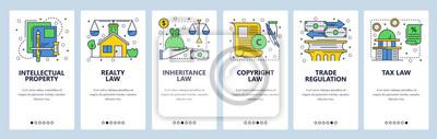 Ekrany włączenia witryny internetowej. Ikony prawa, prawa autorskie, własność intelektualna, handel, podatki i prawo finansowe. Szablon transparent wektor menu do tworzenia stron internetowych i aplik