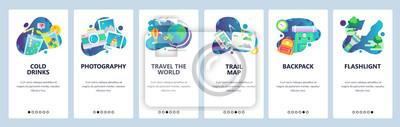 Ekrany włączenia witryny internetowej. Wakacyjne ikony podróży, camping i turystyka piesza, podróżuj po świecie. Szablon transparent wektor menu do tworzenia stron internetowych i aplikacji mobilnych.