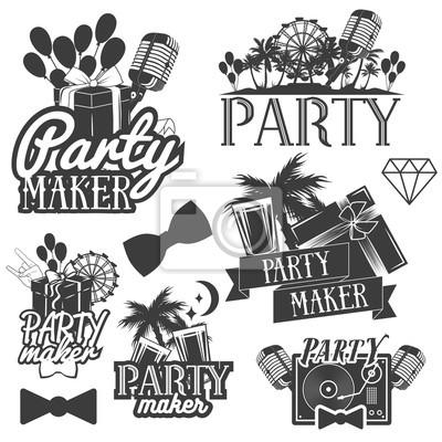 ekspres stron wektora Zestaw emblematów, odznaki, naklejki lub banery. Elementy konstrukcyjne w Miami stylu vintage. pojedyncze ilustracje