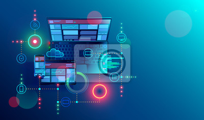 Obraz Elastyczna strona internetowa do tworzenia wielu platform. Budowanie mobilnego interfejsu na ekranie laptopa, tabletu, smartfona. Układ zawartości na urządzeniach wyświetlających. Koncepcyjne transpar