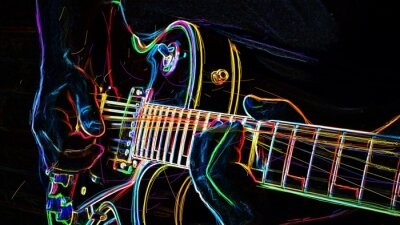 Obraz electric guitar . abstract neon painting