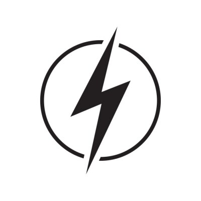 Obraz Electricity icon with lighting. Electric power, energy, charge symbol. Vector illustration.