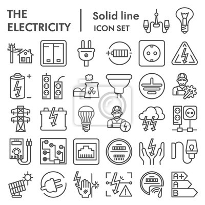 Obraz Electricity line icon set, power symbols collection, vector sketches, logo illustrations, electrician energy signs linear pictograms package isolated on white background, eps 10.