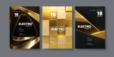 Obraz Electronic music festival ads poster set. Modern club electro party invitation.
