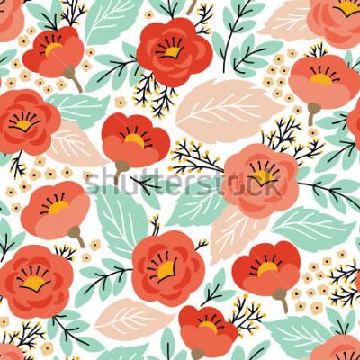Obraz Elegancki wzór z kwiatami. Może być używany do tapet lub ramek na ścianę lub plakat, do wypełnień deseniem, tekstur powierzchni, tła strony internetowej, tekstliów i innych.