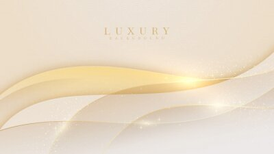 Obraz Elegant cream shade background with line golden elements. Realistic luxury paper cut style 3d modern concept. vector illustration for design.