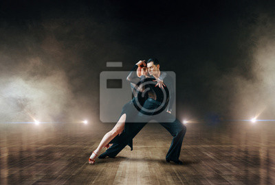 Obraz Elegant dancers, ballrom dance on theatre stage