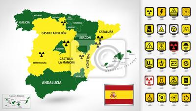 Elektrownia jądrowa mapa Hiszpanii z 3d wskaźniki