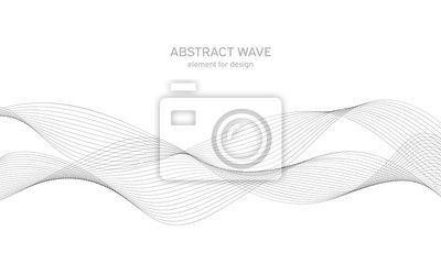 Obraz Element fali abstrakcyjna dla projektu. Cyfrowy equalizer ścieżki częstotliwości. Stylizowane tło grafik. Ilustracji wektorowych. Fala z liniami utworzonymi za pomocą narzędzia mieszania. Zakrzywiona