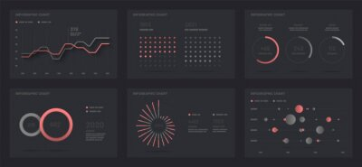 Elements of infographics on a black background. Use in presentation templates, flyer, leaflet and corporate report. Dashboard UI and UX Kit with big data visualization.
