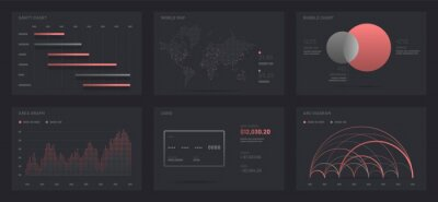 Elements of infographics on a black background. Use in presentation templates, mobile app and corporate report. Dashboard UI and UX Kit with data visualization.