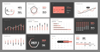 Elements of infographics on a white and black background. Use in presentation templates, flyer, leaflet and corporate report. Dashboard UI and UX Kit with big data visualization.