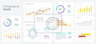 Elements of infographics on a white background. Use in presentation templates, flyer and leaflet, corporate report. Dashboard template with big data visualization.