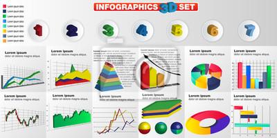 Elementy 3D Infographic. szablon projektu i ikony marketingu.