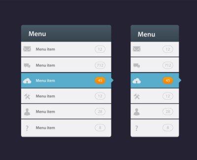 Elementy nawigacji menu projektu witryny sieci Web z zestaw ikon
